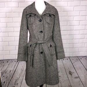 Gap Black White Tweed Jacket sz S Belted Long Coat